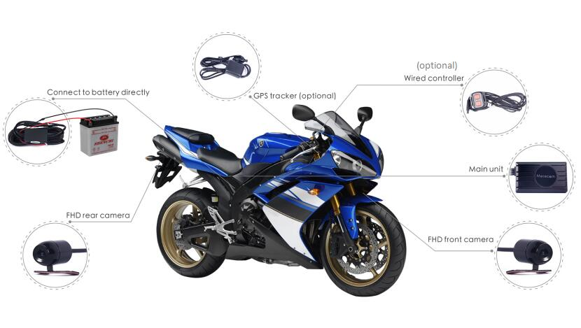 X2F Motorcycle IP68 WaterProof 2ch Dual Cam 2x Full HD